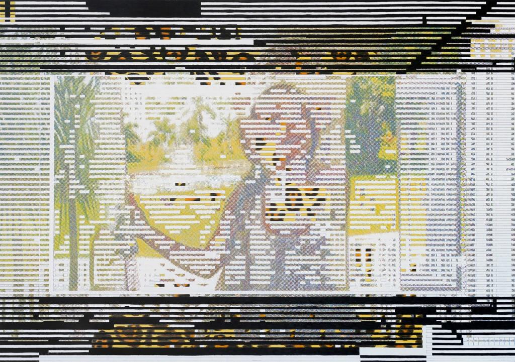 Kennedy at the door. Crayons de couleurs sur papier, 70x100 cm. 2019