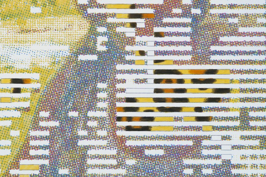 Kennedy at the door (détail) Crayons de couleurs sur papier, 70x100 cm. 2019
