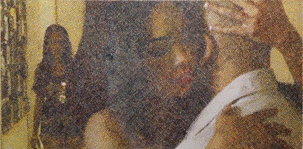 Vicki, Selena & Ben Crayons de couleurs sur papier, 30x60cm. 2018